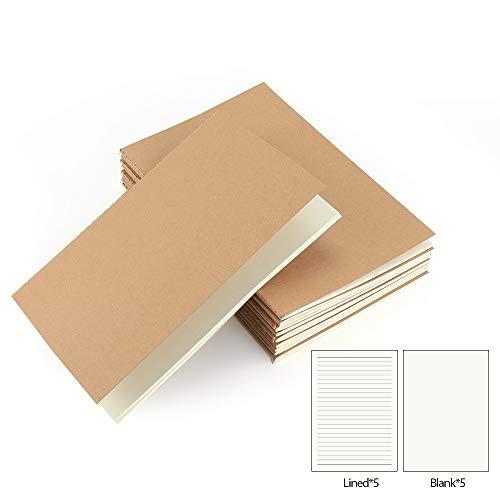 VEESUN Pack de 10 cuadernos, A5 Tapa de Kraft Blanda 5 líneas y 5 Blanco 60 páginas, Libretas Grapadas Cuaderno de Notas para Despacho Diario Escritura de la Escuela...