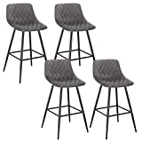 WOLTU Bar Stools Set of 4 PCS Soft Velvet Seat Breakfast Bar Counter Kitchen Chairs Metal Legs Barstools Dark Grey High Stools with Backrests & Footrests for Home & Commercial Use