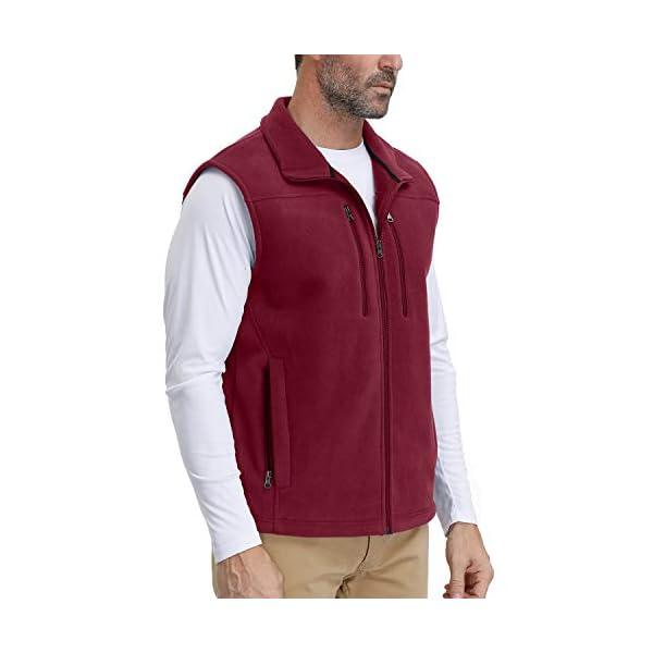 Men's Windproof Soft Fleece Vest Outdoor Full Zip Sleeveless Jacket with Pockets