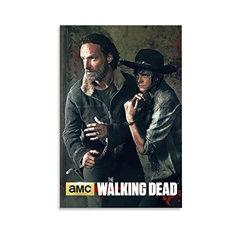 woplmh Horror Movie Poster The Walking Dead Nervous Rick and Carl Poster Decorative Painting Canvas Wall Art Living Room Posters Bedroom Painting 12x18inch(30x45cm)