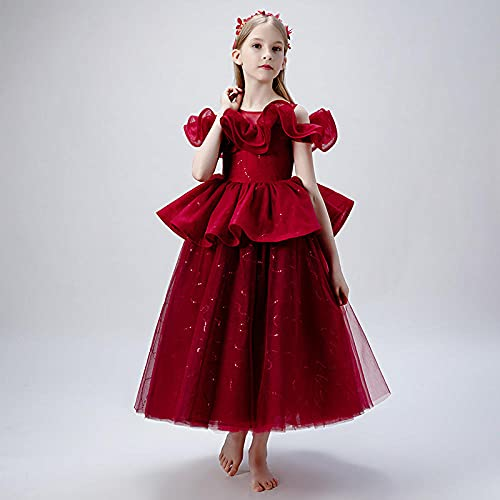 SUNXC Vestido de Fiesta Elegante Princesa, Vestido de niña Vestido de Princesa-Red_140cm, Princesa Cosplay Halloween Traje
