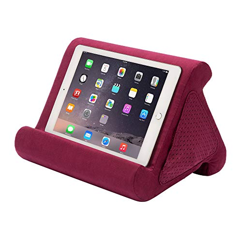 Flippy Fun Size, Compact Multi-Angle Soft Pillow Lap Stand for Mini iPads, Tablets, eReaders, Smartphones, Books, for All Ages, Easy to Store and Travel with (Nebbiolo, Single)