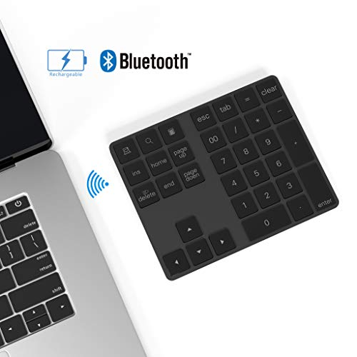 Ziffernblock Bluetooth, Rytaki 34-Tasten kabellos Bluetooth nummernpad wiederaufladbar Tastatur Numerische Tastatur für Computer Laptop Tablet phone iPad Kompatibel mit Mac Book Windows Surface Pro