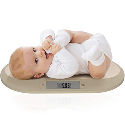Avec Maman - Bilancia neonato - Bilancia digitale per neonati e bambini - Superficie ampia e funzione di impostazione della tara | Perfetta per neonati sottopeso o prematuri - Misura in kg, lb e st