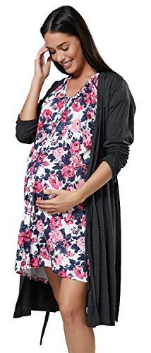 HAPPY MAMA Para Mujer Set Camisón Bata de Premamá Embarazo Lactancia 1009...