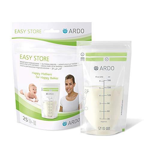 Ardo Easy Store Muttermilchbeutel – Vorsterilisierte Aufbewahrungsbeutel zum Aufbewahren und Einfrieren von Muttermilch – Beutel mit 180 ml Fassungsvermögen – 25 Stück