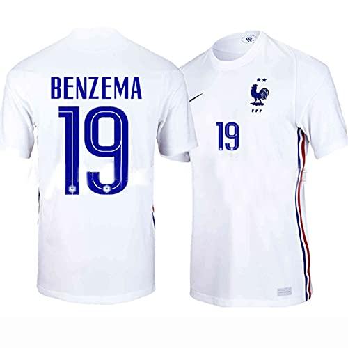 Backboards 2021 European Cup Jersey,France Camiseta Segunda Equipación,Hombre Blanco Camiseta de Manga Corta,por Portero Unisex Adulto,No.19,L
