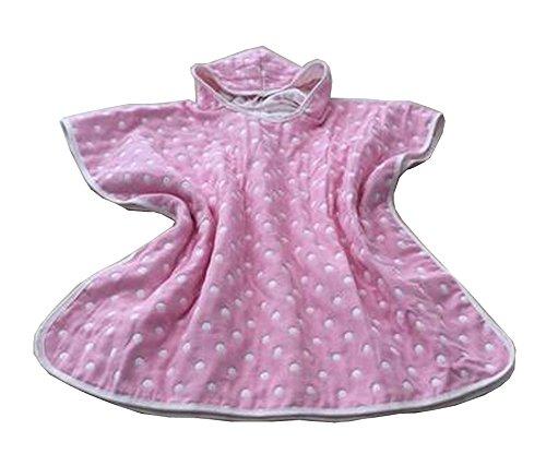 Coton doux coton capuchon serviette de bain peignoir pour les enfants Dot Pink
