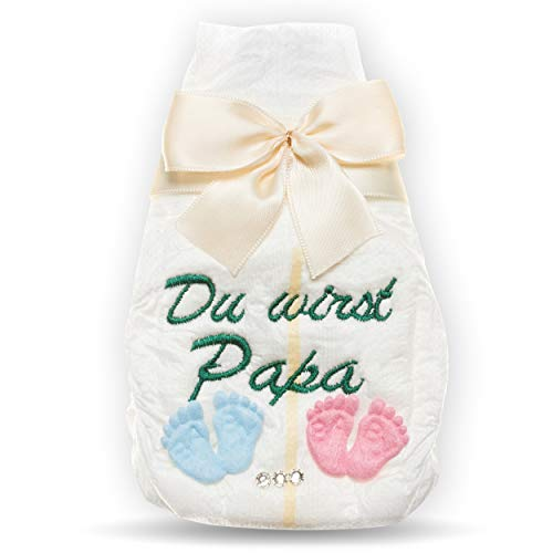 Tanjo Du wirst Papa, bestickte Windel, creme, Schwangerschaft mitteilen, Verkündung Schwangerschaft, Ich bin schwanger Geschenk, Schwangerschaft Überraschung zur Geburt