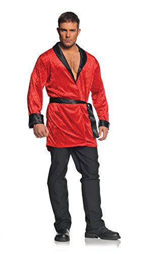 Underwraps Men's Plus-Size Smoking Jacket, Red/Black, XX-Large