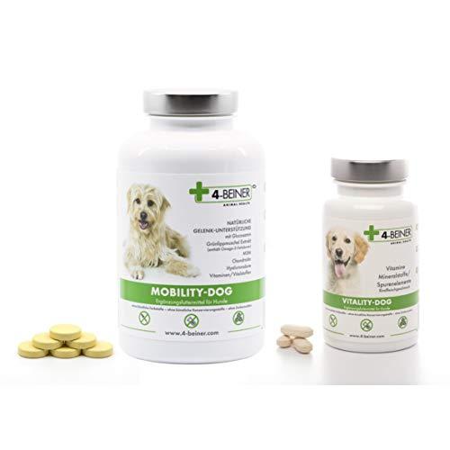 4-BEINER Mobility-Dog + Vitality-Dog, Unterstützung Gelenke & Vitamine für ältere Hunde, Glucosamin, MSM, Teufelskralle, Grünlipp Muschel, Weihrauch, 120 Gelenk Tab. & 100 Vitamin Tab.