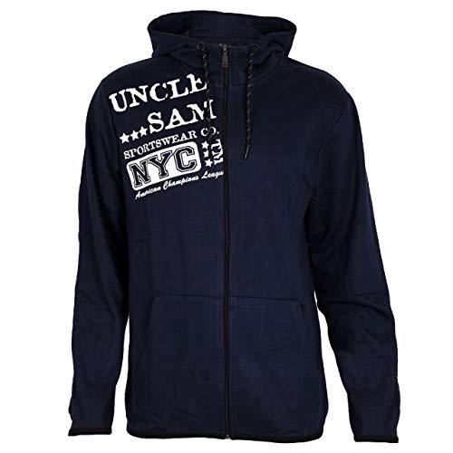 Uncle Sam Herren Sweatjacke mit Kapuze, Größe:M, Farbe:Black Iris/Navy