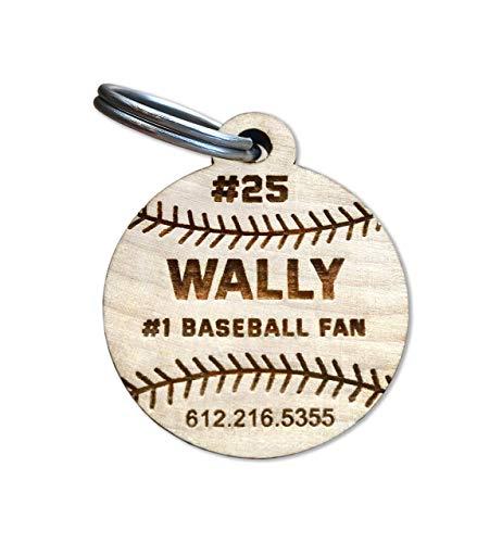 Custom Engraved Wood Dog Tag, Unique Wooden Dog Tag, Baseball Dog Tag, Baseball Cat Tag, Wood Dog Tag, Wood Cat Tag, Wood Pet Tag,Pet ID Tag