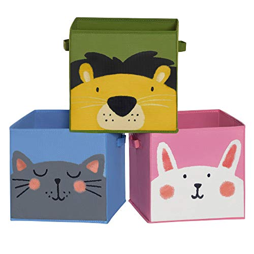 SONGMICS Aufbewahrungsboxen, 3er Set, Faltboxen, Stoffboxen je mit 2 Griffen, Aufbewahrungskisten, 30 x 30 x 30 cm, für Kinderzimmer, Spielzimmer, Tier-Motiv, blau-grün-rosa RFB075P01