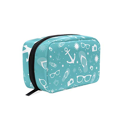 Makeup Cosmetic Bag Summer Anchor Sunglasses Camera Turquoise Portable Travel Train Case Toiletry Bags Organizer Multifunction Storage Bag