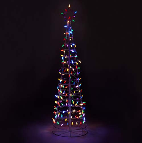 Aurio 6ft 3D Cone Outdoor Christmas Tree White Frame with 300 Multi Colored Lights