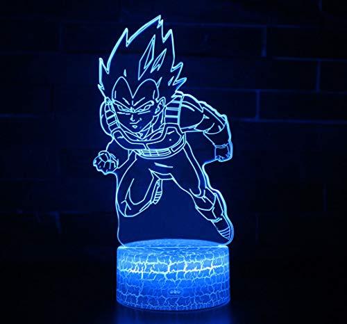 3D Lámpara óptico Illusions Luz Nocturna, CKW 7 Colores Cambio de Botón Táctil y Cable USB para Cumpleaños, Navidad Regalos de Mujer Bebes Hombre Niños Amigas (Dragon ball 8)