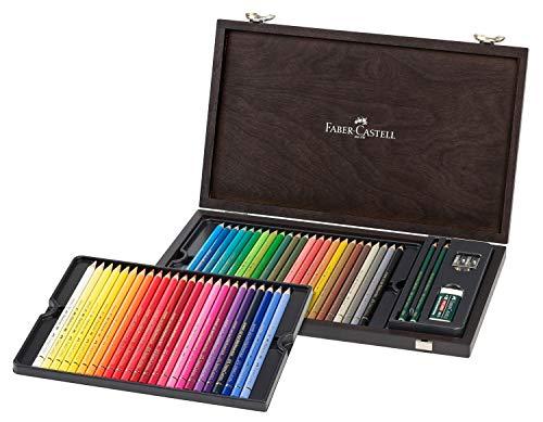 Faber-Castell 110006 Polychromo Farbstift Polychromos, 48er Holzkoffer mit Zubehör, wasserfest, bruchsicher, für Profis und Hobbykünstler, bunt