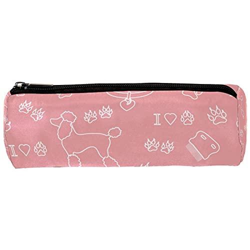 Estuche para lápices de perro con diseño de caniche rosa, organizador de escritorio, bolsa de cosméticos para escuela, oficina