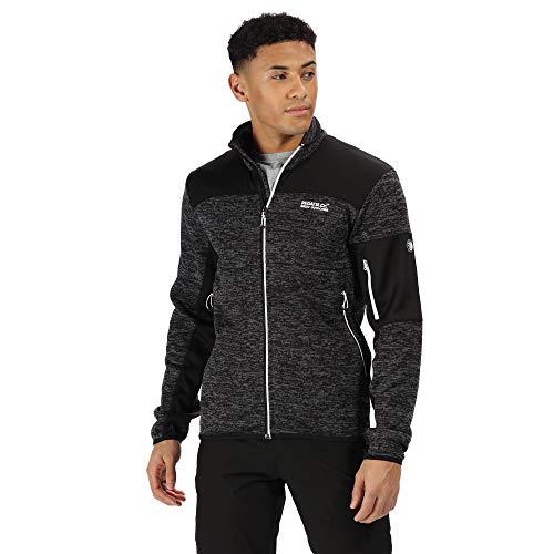 Regatta Herren Collumbus VI Full-Zip Marl Knit Effect Extol Stretch Fleece, schwarz/schwarz, L