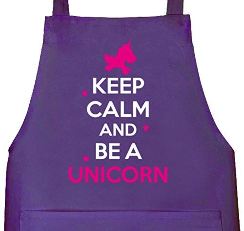 Keep Calm And Be A Unicorn, Einhorn Grillen Barbecue Grill Schürze Kochschürze Latzschürze, Größe: onesize,Lila