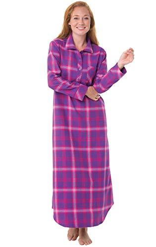 PajamaGram Women's Nightgown Soft Flannel - Long Nightgown, Raspberry, L, 12-14