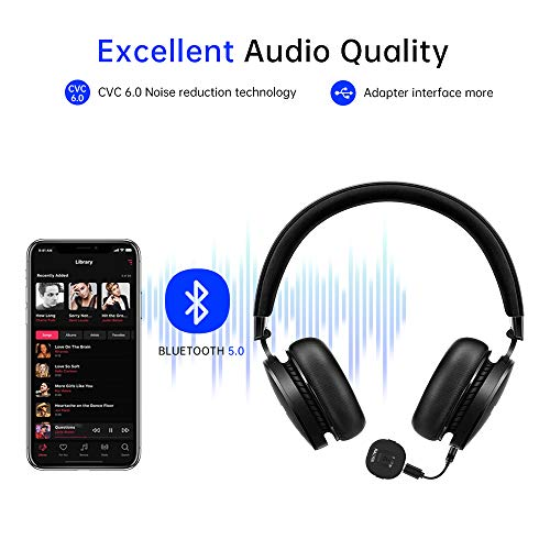 Ralyin Mini Size Bluetooth Receiver V5.0 Wireless Audio Music Adapter with Hands-Free Calling, 3.5mm Male and Female Output Stereo Jack for Headphones Speaker and Car Audio System