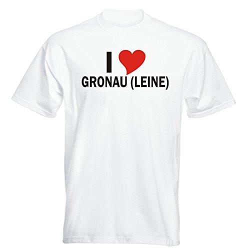 T-Shirt mit Städtenamen - i Love Gronau (Leine) - Herren - Unisex - weiß XXL - JDM - Die Cut - OEM - Funshirt - Fasching - Party - Geschenk
