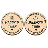 💑New Parent Gifts for Him Her💑 Funny newborn baby gift decision coin for new parents who are going to start a new journey. Try our cute coin to make decisions easier for you and your other half, your wife, your husband, or your best friend, sister, b...
