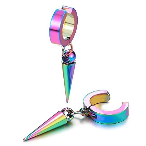 Pendientes de aro de acero para hombre y mujer, diseño de arco iris, sin perforación, con forma de cono