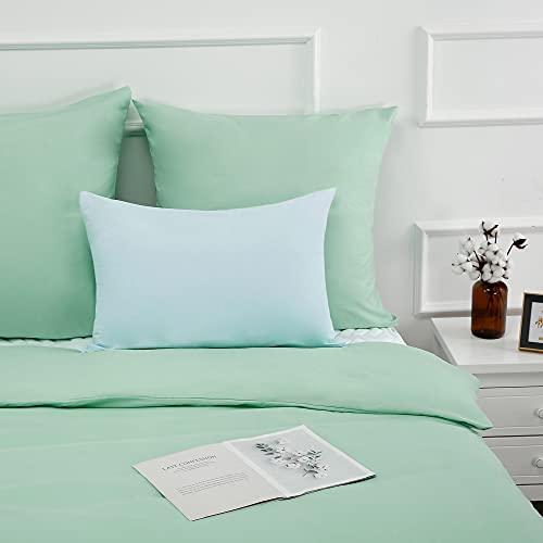 Best Season - Juego de ropa de cama de 3 piezas, 155 x 220 cm, transpirable, microfibra, color verde menta, funda nórdica con cremallera y 2 fundas de almohada de 80 x 80 cm