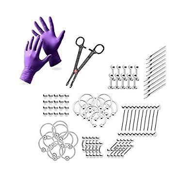 BodyJewelryOnline 92 pc. Body Piercing Kit Assorted Jewelry, 10 Needles, 1 Tool, 1 Pair Gloves - Lip, Nipple, Belly, Eyebrow, Tongue, Ear