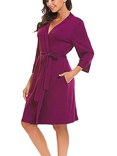 Lalala Morgenmantel Bademantel Sexy Sommer Jersey Robe Saunamantel mit Bindegürtel Frauen weich V Ausschnitt schlafmantel lila Rot S