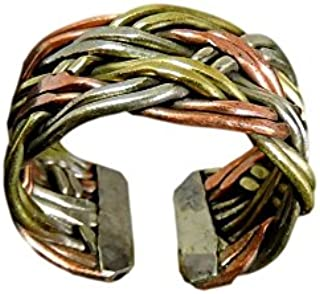 Handmade Twisted Three Metal Medicine/ Healing Ring From Nepal