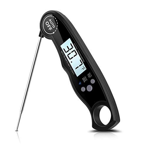 Instant Read Digitale food thermometer met lcd-scherm met achtergrondverlichting en gekalibreerde ultrasnelle keukenthermometer koken buitenshuis gebakken putengrill zwart