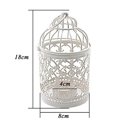 Kerzenhalter | Vogelkäfig, weiß - 4