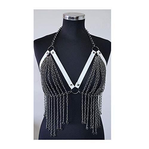 Ceintures de cage de corps de soutien-gorge de lingerie de chaîne en métal harnais usure de rave de danse