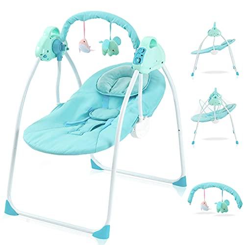 Babywippe Elektrisch Schaukelfunktion Zusammenklappbare und Tragbare Babyschaukel mit 3 Schaukelgeschwindigkeiten Wippe Baby Lautstärkeregulierung und Abnehmbarem Spielzeugbügel Schaukelwippe (Blau)