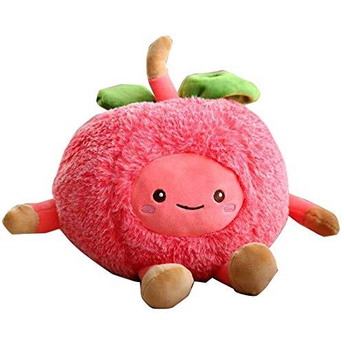 TOPJIN Animales de peluche Piña sandía cereza en forma de frutas suaves juguetes de felpa para el hogar del coche de la oficina Decoración del festival regalos para niños amigos (rojo cereza, 11.8'')