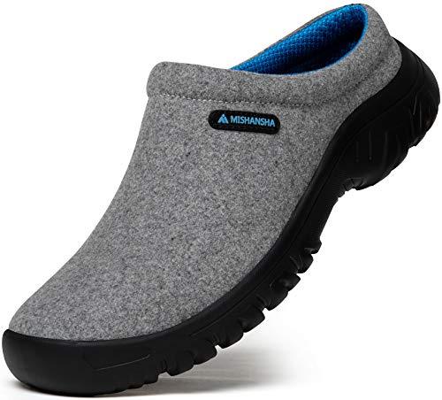 Mishansha Pantuflas Hombre Forro de Felpa Zapatillas de Casa Mujer Cálido Zapatillas de Fieltro Invierno Algodón Zapatos Gris Gr.42
