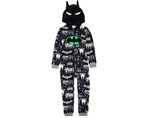 Batman Pijama Entero para Niños, Pijama De Una Pieza, Forro Polar Suave Y Acogedor, Onesie Infantil, Diseño Capucha 3D, Brilla En La Oscuridad! Regalo para Niños! 9-10 Años