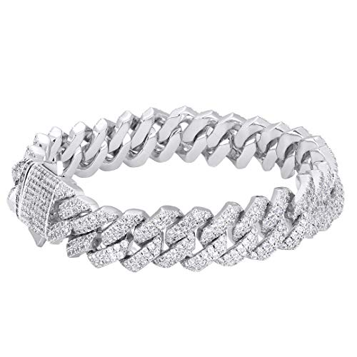 KRKC&CO 15mm Iced Out Cuban Armband Weißgold beschichtet Panzerkette Armband Cuban Link Armband Iced Out Cuban Chain 5A Zirkonia Steinen Hip Hop Armband Herren Silber Armband Größe 18 20 23cm