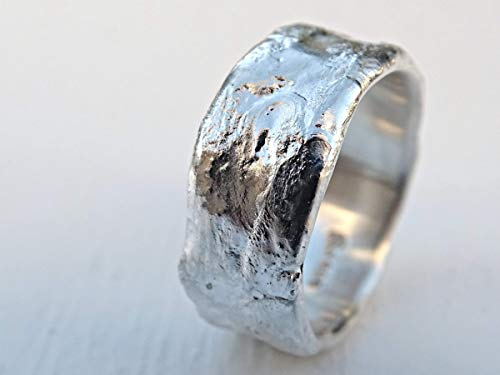 fine silver ring molten structure, unique wedding ring man, celtic ring viking wedding band men, cool mens ring medieval engagement band