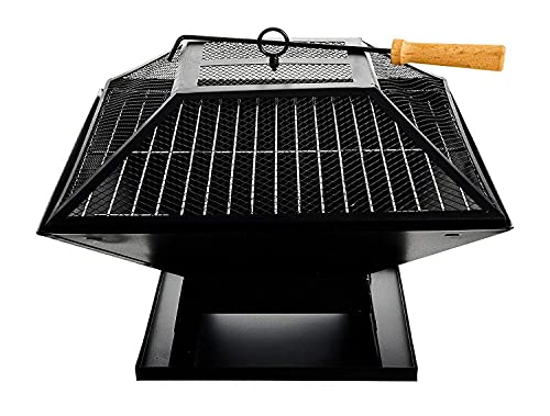 FiNeWaY 3 in 1 Square Garden Fire Pit Brazier Patio Heater Stove BBQ Grill – Ideal for Camping Picnic Outdoor Party with BBQ Grill