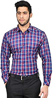 The Mods Men's Formal Blue Color Checkered Shirt