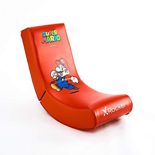 X-Rocker Officially Licensed Nintendo Super Mario Bros Video Rocker Gaming Chair, Junior Foldable Floor Seat – Mario