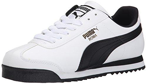 PUMA Men's Roma Basic Fashion Sneaker, White/Black Leather - 10 D(M) US