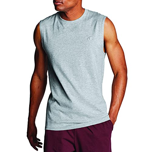 Champion Men's Classic Jersey Muscle T-Shirt, Oxford Gray, M