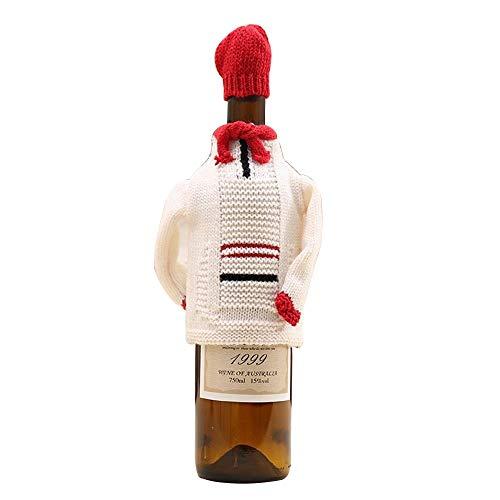 HULDORO -3pcs / Lot Neue High-End Stricken Weihnachten Pullover setzt Flasche Sätze von Rotweinflaschen Bierflaschen Weihnachtsschmuck Weihnachten (Color : B, Size : 16 * 11cm)