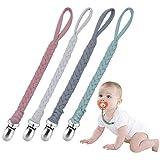 Catenella Portaciuccio ,Ciuccio Clip Baby Catena per Ciuccio in Cotone per Bambini Infantile Baby Sciarpa Baby Shower Regali(rosa)